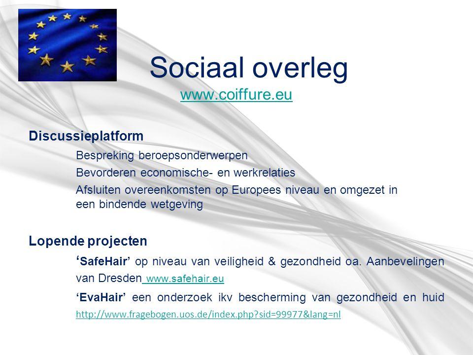 Sociaal overleg www.coiffure.eu www.coiffure.eu Discussieplatform Bespreking beroepsonderwerpen Bevorderen economische- en werkrelaties Afsluiten over