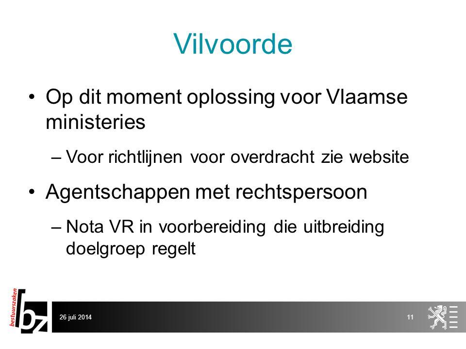 Vilvoorde Op dit moment oplossing voor Vlaamse ministeries –Voor richtlijnen voor overdracht zie website Agentschappen met rechtspersoon –Nota VR in voorbereiding die uitbreiding doelgroep regelt 26 juli 201411