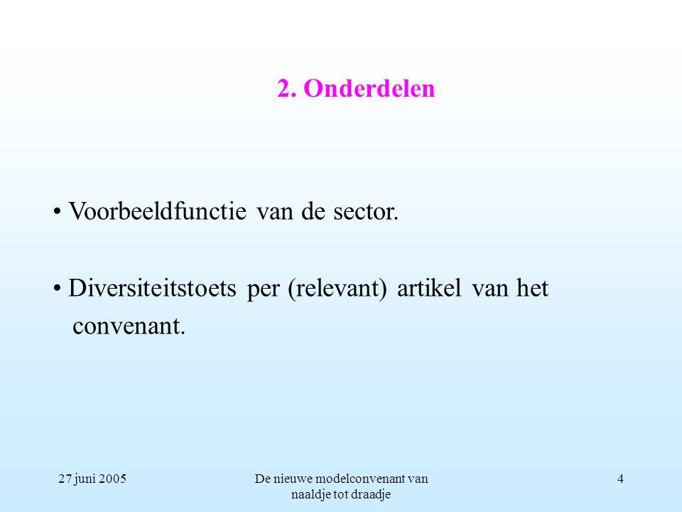 27 juni 2005De nieuwe modelconvenant van naaldje tot draadje 4 Voorbeeldfunctie van de sector. Diversiteitstoets per (relevant) artikel van het conven
