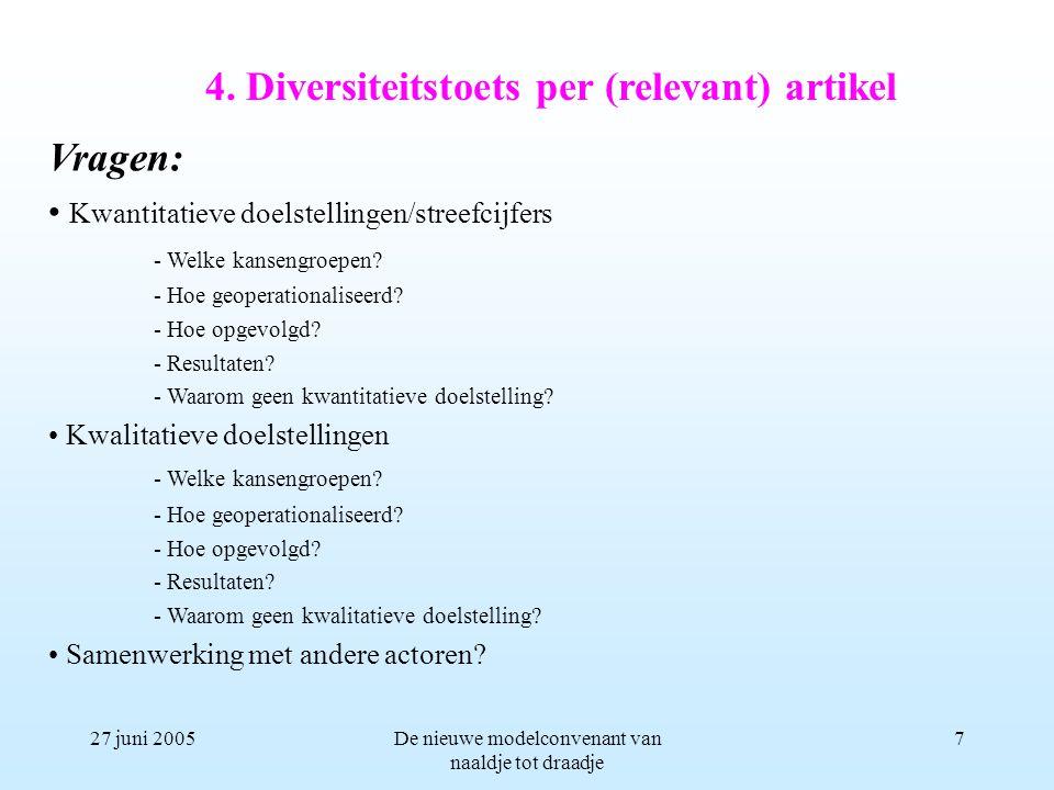 27 juni 2005De nieuwe modelconvenant van naaldje tot draadje 7 Vragen: Kwantitatieve doelstellingen/streefcijfers - Welke kansengroepen.