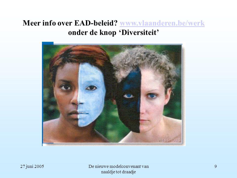 27 juni 2005De nieuwe modelconvenant van naaldje tot draadje 9 Meer info over EAD-beleid? www.vlaanderen.be/werkwww.vlaanderen.be/werk onder de knop '