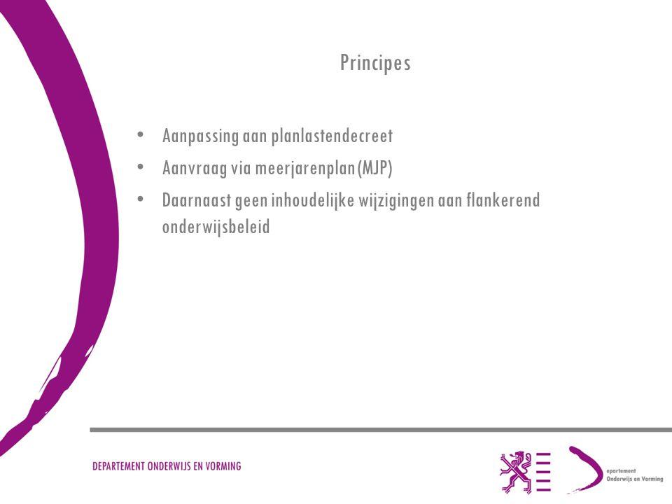 Principes Aanpassing aan planlastendecreet Aanvraag via meerjarenplan (MJP) Daarnaast geen inhoudelijke wijzigingen aan flankerend onderwijsbeleid