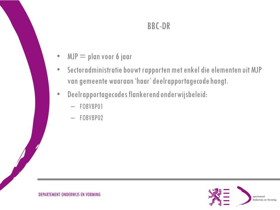 BBC-DR MJP = plan voor 6 jaar Sectoradministratie bouwt rapporten met enkel die elementen uit MJP van gemeente waaraan 'haar' deelrapportagecode hangt.