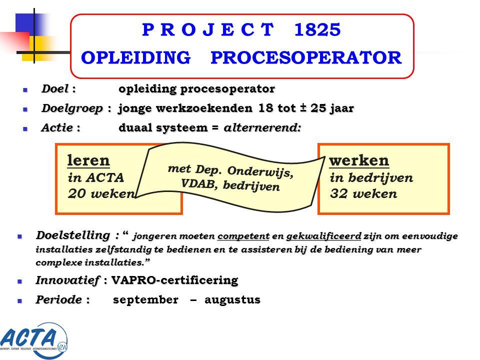 P R O J E C T 1825 OPLEIDING PROCESOPERATOR Doelstelling : jongeren moeten competent en gekwalificeerd zijn om eenvoudige installaties zelfstandig te