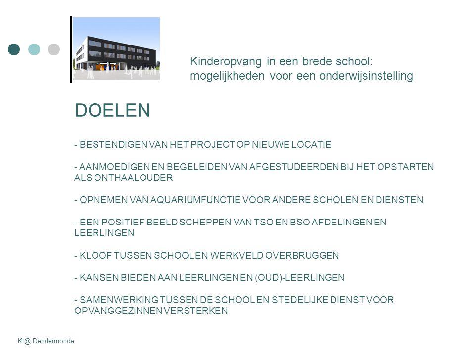 Kinderopvang in een brede school: mogelijkheden voor een onderwijsinstelling Kt@ Dendermonde DOELEN - BESTENDIGEN VAN HET PROJECT OP NIEUWE LOCATIE - AANMOEDIGEN EN BEGELEIDEN VAN AFGESTUDEERDEN BIJ HET OPSTARTEN ALS ONTHAALOUDER - OPNEMEN VAN AQUARIUMFUNCTIE VOOR ANDERE SCHOLEN EN DIENSTEN - EEN POSITIEF BEELD SCHEPPEN VAN TSO EN BSO AFDELINGEN EN LEERLINGEN - KLOOF TUSSEN SCHOOL EN WERKVELD OVERBRUGGEN - KANSEN BIEDEN AAN LEERLINGEN EN (OUD)-LEERLINGEN - SAMENWERKING TUSSEN DE SCHOOL EN STEDELIJKE DIENST VOOR OPVANGGEZINNEN VERSTERKEN