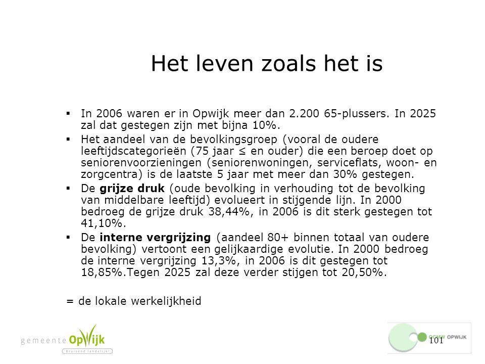 101 Het leven zoals het is  In 2006 waren er in Opwijk meer dan 2.200 65-plussers.