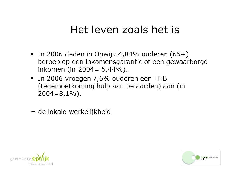103 Het leven zoals het is  In 2006 deden in Opwijk 4,84% ouderen (65+) beroep op een inkomensgarantie of een gewaarborgd inkomen (in 2004= 5,44%).