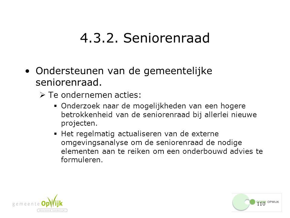110 4.3.2.Seniorenraad Ondersteunen van de gemeentelijke seniorenraad.