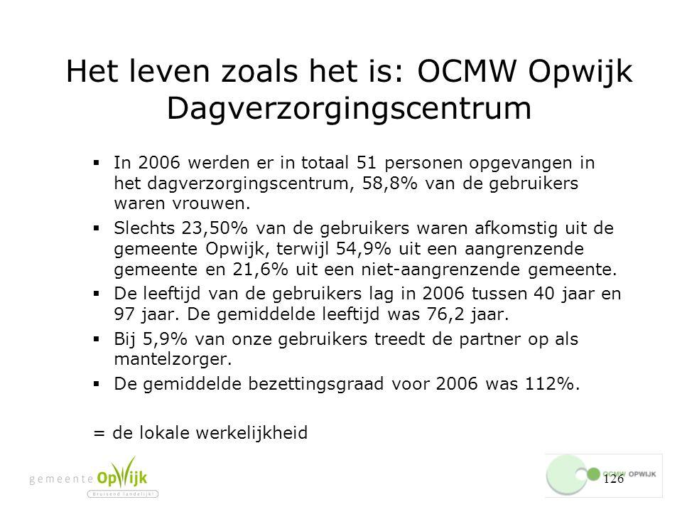 126 Het leven zoals het is: OCMW Opwijk Dagverzorgingscentrum  In 2006 werden er in totaal 51 personen opgevangen in het dagverzorgingscentrum, 58,8% van de gebruikers waren vrouwen.