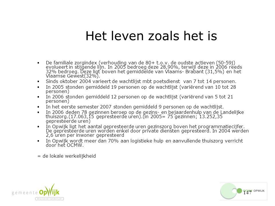 147 Het leven zoals het is  De familiale zorgindex (verhouding van de 80+ t.o.v.