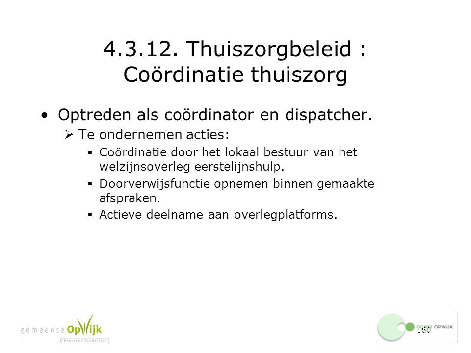 160 4.3.12.Thuiszorgbeleid : Coördinatie thuiszorg Optreden als coördinator en dispatcher.