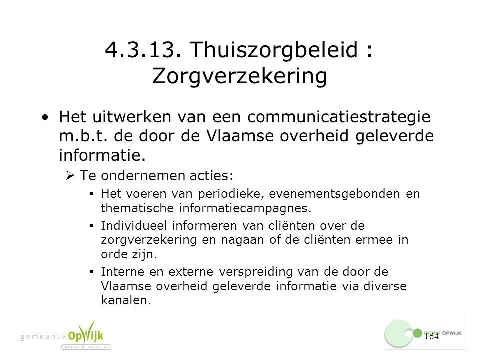 164 4.3.13.Thuiszorgbeleid : Zorgverzekering Het uitwerken van een communicatiestrategie m.b.t.
