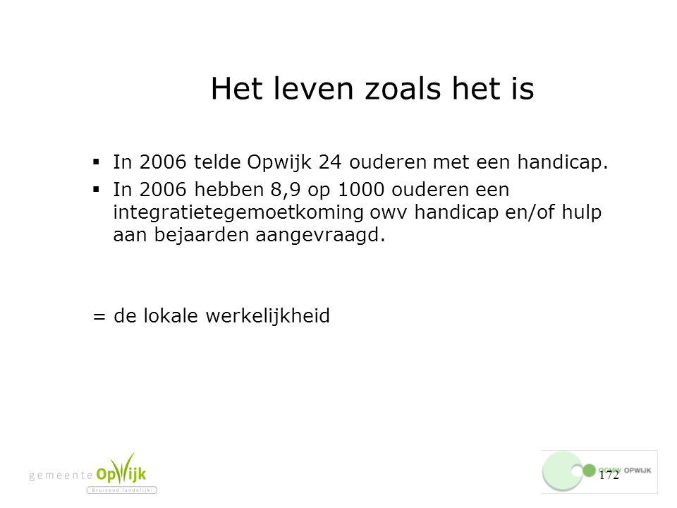 172 Het leven zoals het is  In 2006 telde Opwijk 24 ouderen met een handicap.