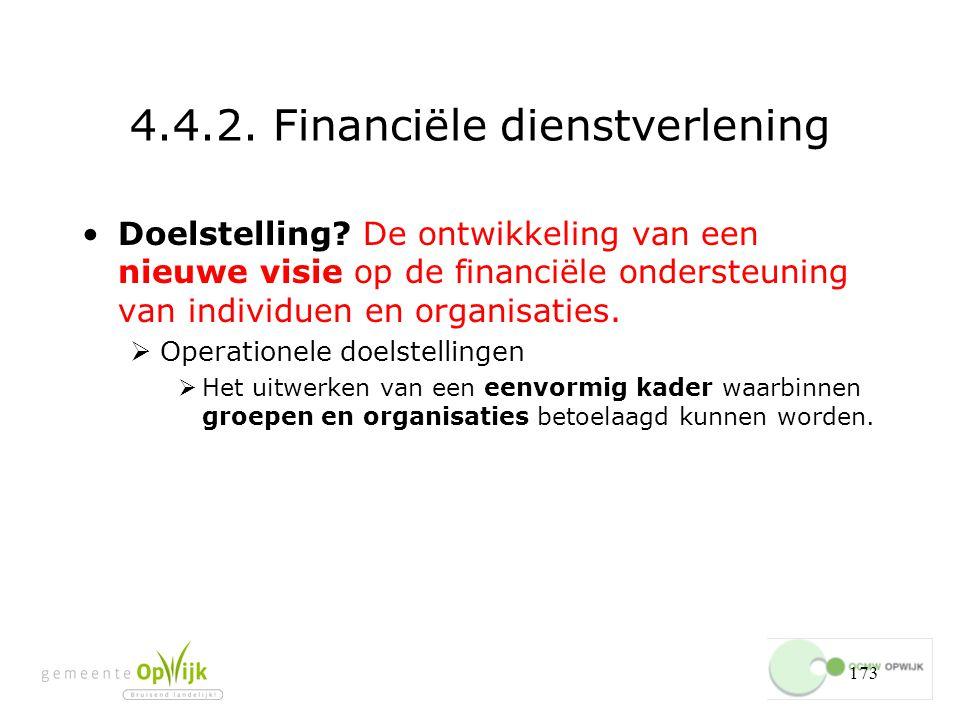 173 4.4.2.Financiële dienstverlening Doelstelling.