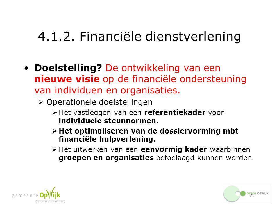 21 4.1.2.Financiële dienstverlening Doelstelling.