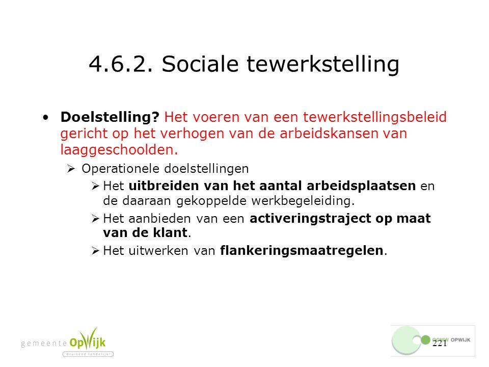 221 4.6.2.Sociale tewerkstelling Doelstelling.