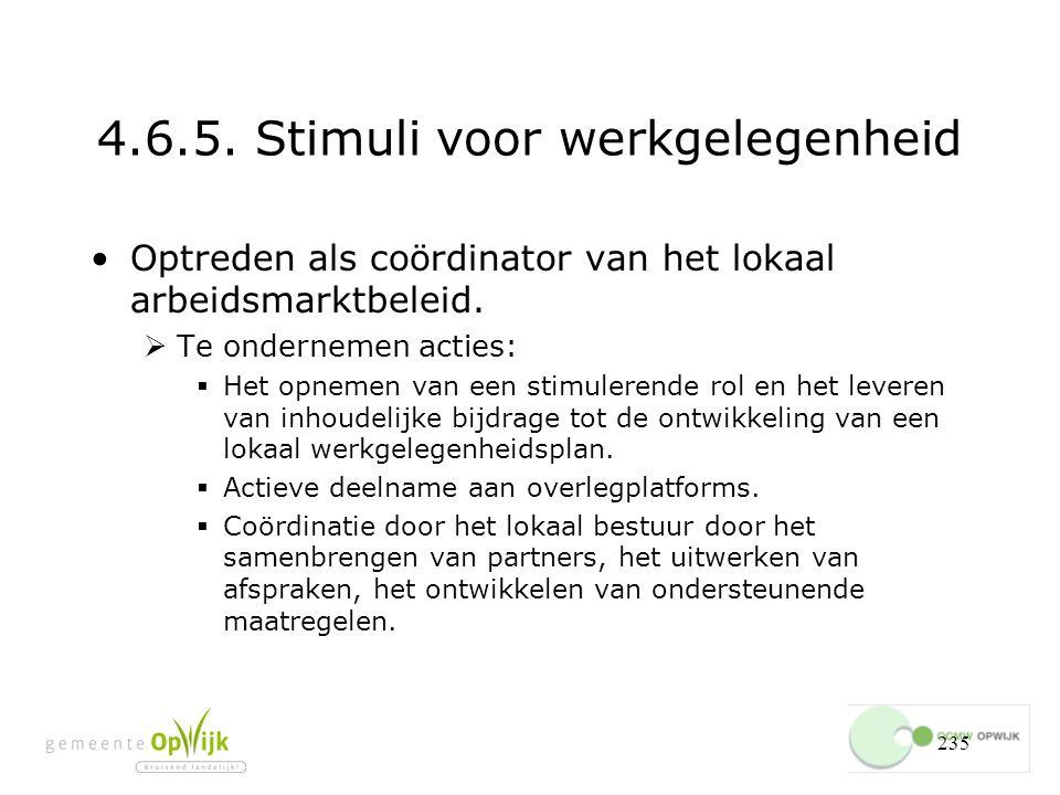 235 4.6.5.Stimuli voor werkgelegenheid Optreden als coördinator van het lokaal arbeidsmarktbeleid.