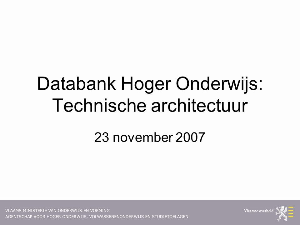 Databank Hoger Onderwijs: Technische architectuur 23 november 2007