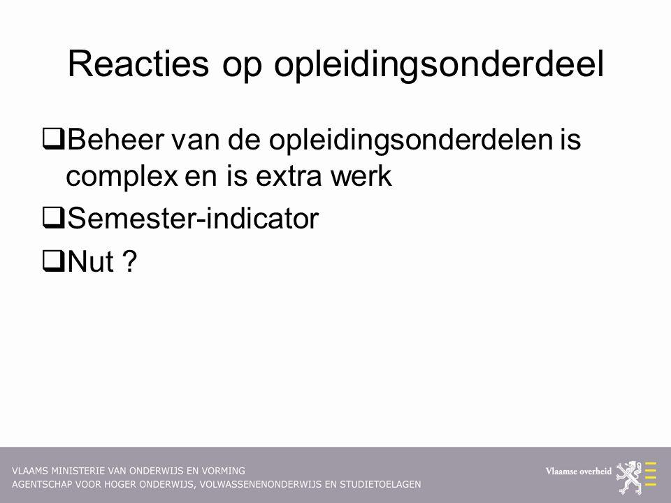 Reacties op opleidingsonderdeel  Beheer van de opleidingsonderdelen is complex en is extra werk  Semester-indicator  Nut