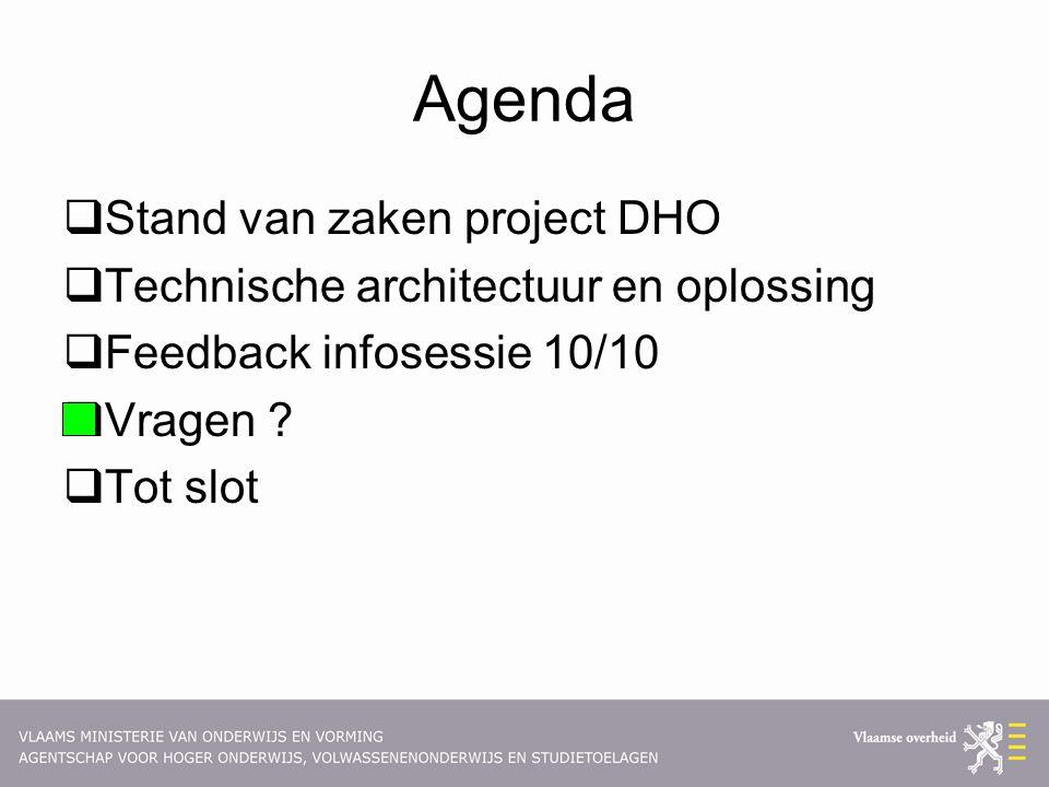 Agenda  Stand van zaken project DHO  Technische architectuur en oplossing  Feedback infosessie 10/10  Vragen .