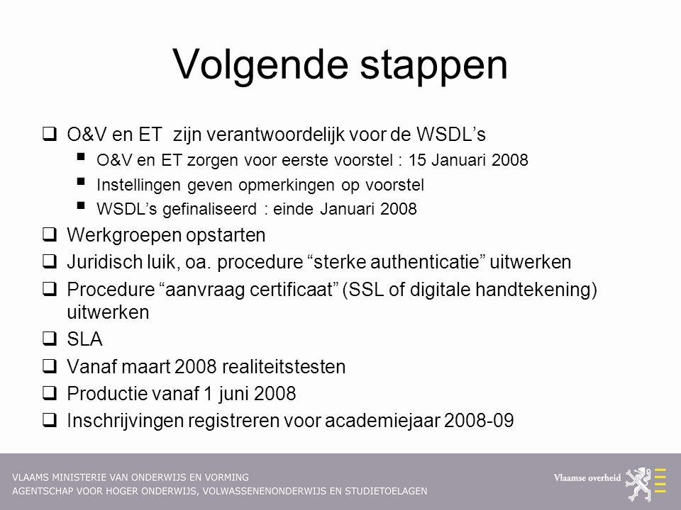 Volgende stappen  O&V en ET zijn verantwoordelijk voor de WSDL's  O&V en ET zorgen voor eerste voorstel : 15 Januari 2008  Instellingen geven opmerkingen op voorstel  WSDL's gefinaliseerd : einde Januari 2008  Werkgroepen opstarten  Juridisch luik, oa.