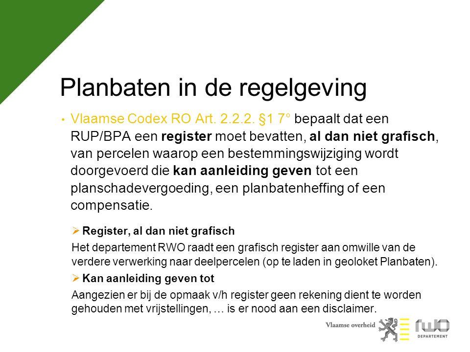 Planbaten in de regelgeving Vlaamse Codex RO Art.7.4.12.