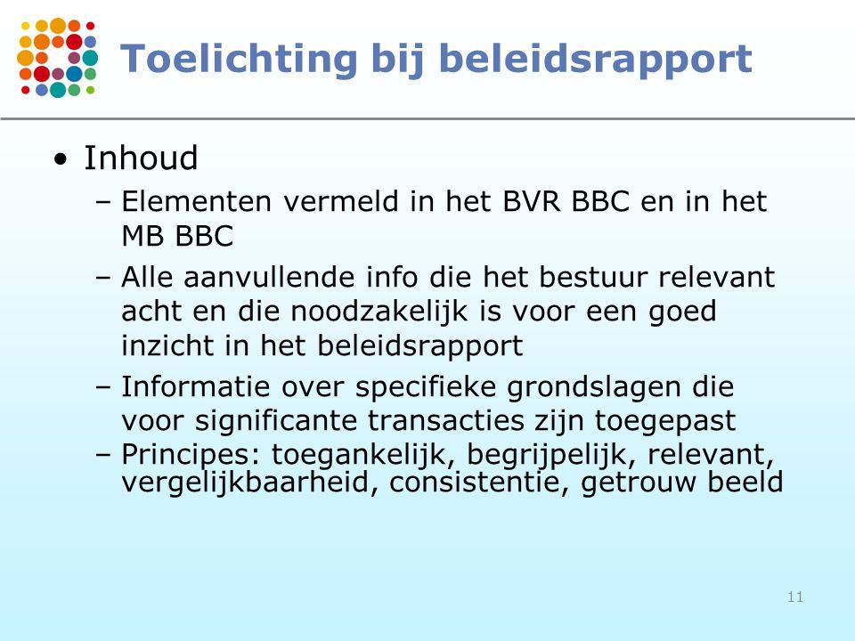 11 Toelichting bij beleidsrapport Inhoud –Elementen vermeld in het BVR BBC en in het MB BBC –Alle aanvullende info die het bestuur relevant acht en di