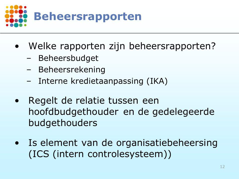 12 Beheersrapporten Welke rapporten zijn beheersrapporten? –Beheersbudget –Beheersrekening –Interne kredietaanpassing (IKA) Regelt de relatie tussen e