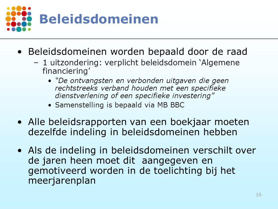 """16 Beleidsdomeinen Beleidsdomeinen worden bepaald door de raad –1 uitzondering: verplicht beleidsdomein 'Algemene financiering' """"De ontvangsten en ver"""