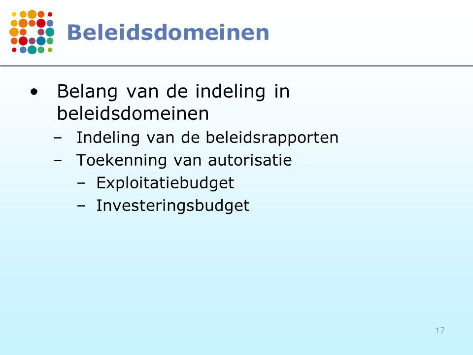17 Beleidsdomeinen Belang van de indeling in beleidsdomeinen –Indeling van de beleidsrapporten –Toekenning van autorisatie –Exploitatiebudget –Investe