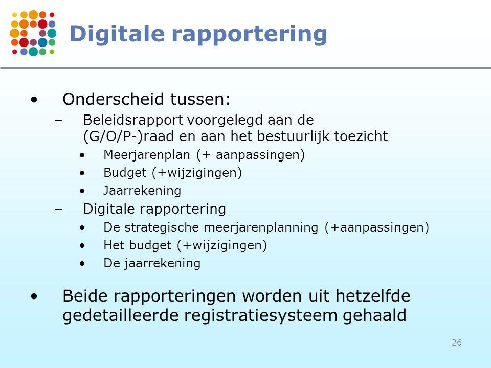 26 Digitale rapportering Onderscheid tussen: –Beleidsrapport voorgelegd aan de (G/O/P-)raad en aan het bestuurlijk toezicht Meerjarenplan (+ aanpassin
