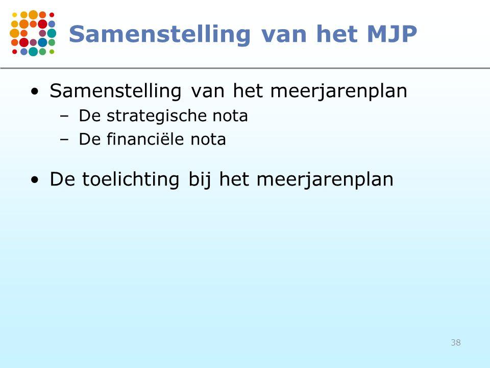 38 Samenstelling van het MJP Samenstelling van het meerjarenplan –De strategische nota –De financiële nota De toelichting bij het meerjarenplan