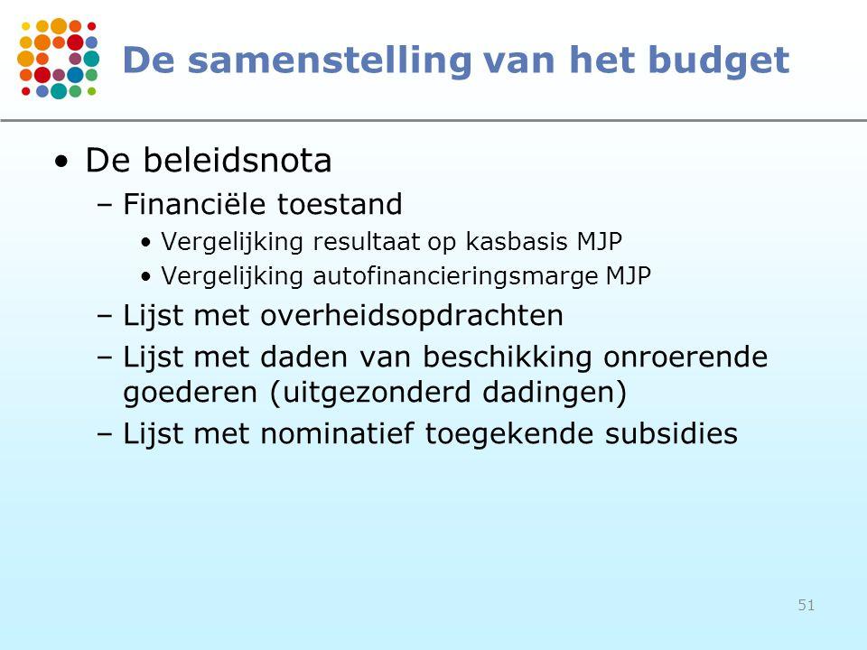 51 De samenstelling van het budget De beleidsnota –Financiële toestand Vergelijking resultaat op kasbasis MJP Vergelijking autofinancieringsmarge MJP