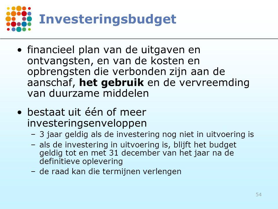 54 Investeringsbudget financieel plan van de uitgaven en ontvangsten, en van de kosten en opbrengsten die verbonden zijn aan de aanschaf, het gebruik