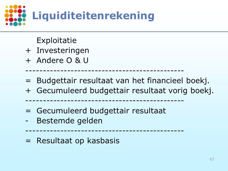 67 Liquiditeitenrekening Exploitatie +Investeringen +Andere O & U ---------------------------------------------- =Budgettair resultaat van het financi