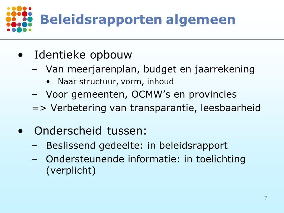7 Beleidsrapporten algemeen Identieke opbouw –Van meerjarenplan, budget en jaarrekening Naar structuur, vorm, inhoud –Voor gemeenten, OCMW's en provin