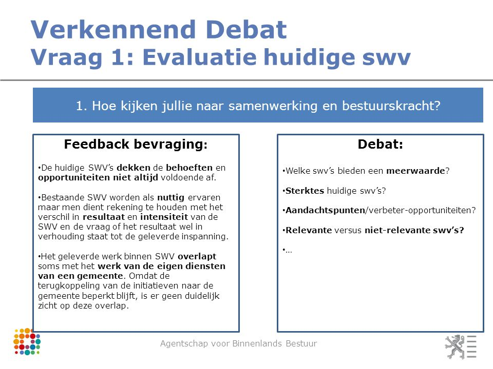Verkennend Debat Vraag 1: Evaluatie huidige swv Agentschap voor Binnenlands Bestuur 1.