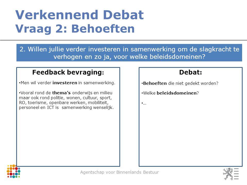 Verkennend Debat Vraag 2: Behoeften Agentschap voor Binnenlands Bestuur 2.