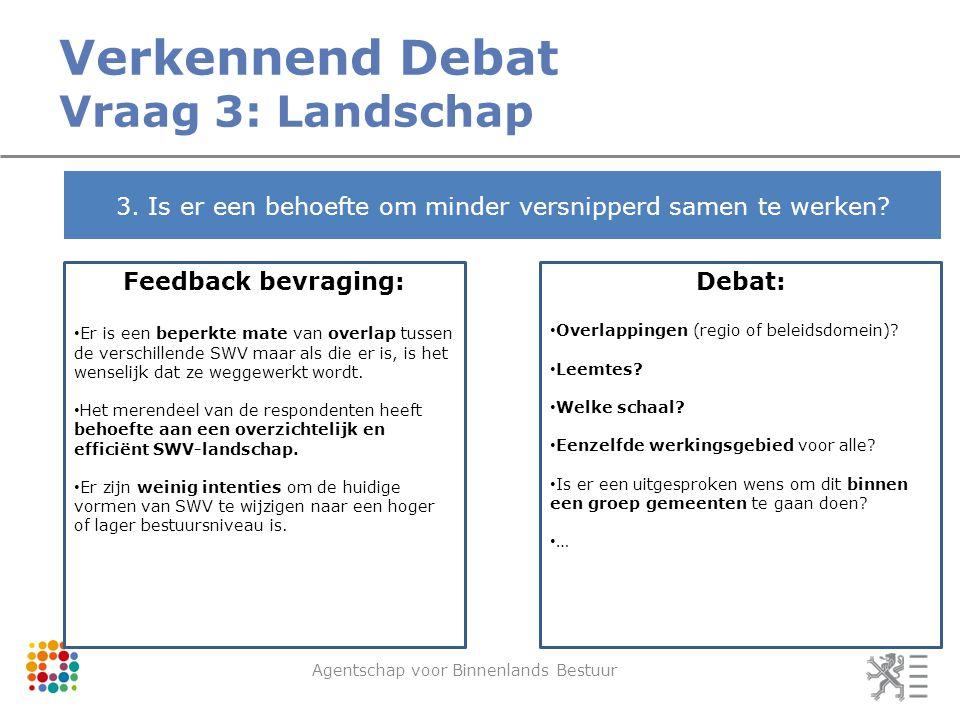 Verkennend Debat Vraag 3: Landschap Agentschap voor Binnenlands Bestuur 3.