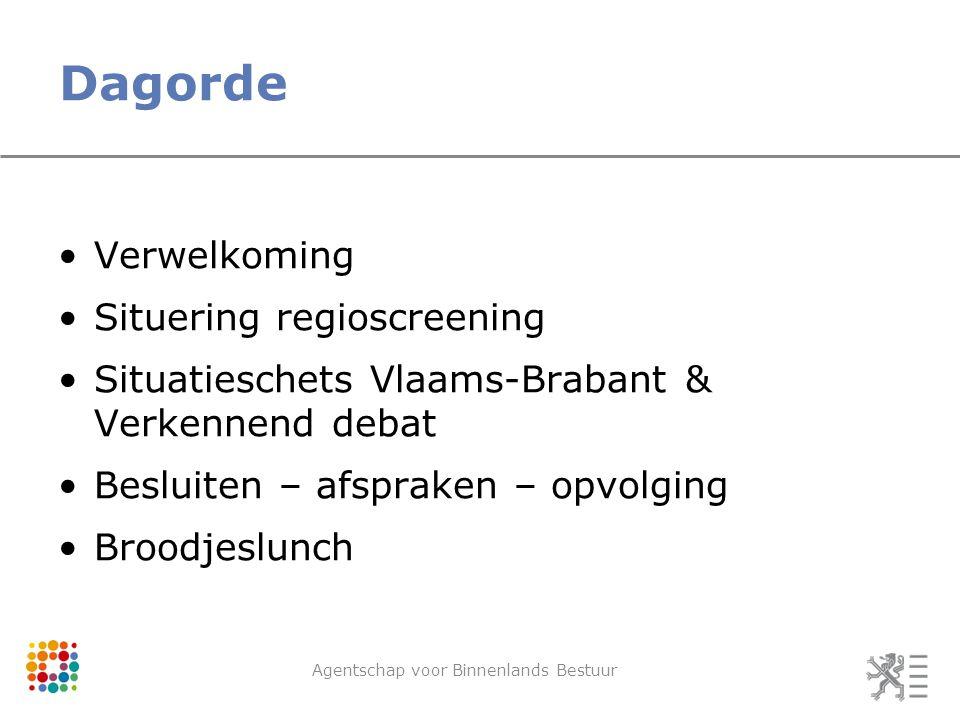 Dagorde Verwelkoming Situering regioscreening Situatieschets Vlaams-Brabant & Verkennend debat Besluiten – afspraken – opvolging Broodjeslunch Agentschap voor Binnenlands Bestuur
