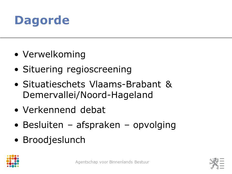 Dagorde Verwelkoming Situering regioscreening Situatieschets Vlaams-Brabant & Demervallei/Noord-Hageland Verkennend debat Besluiten – afspraken – opvolging Broodjeslunch Agentschap voor Binnenlands Bestuur