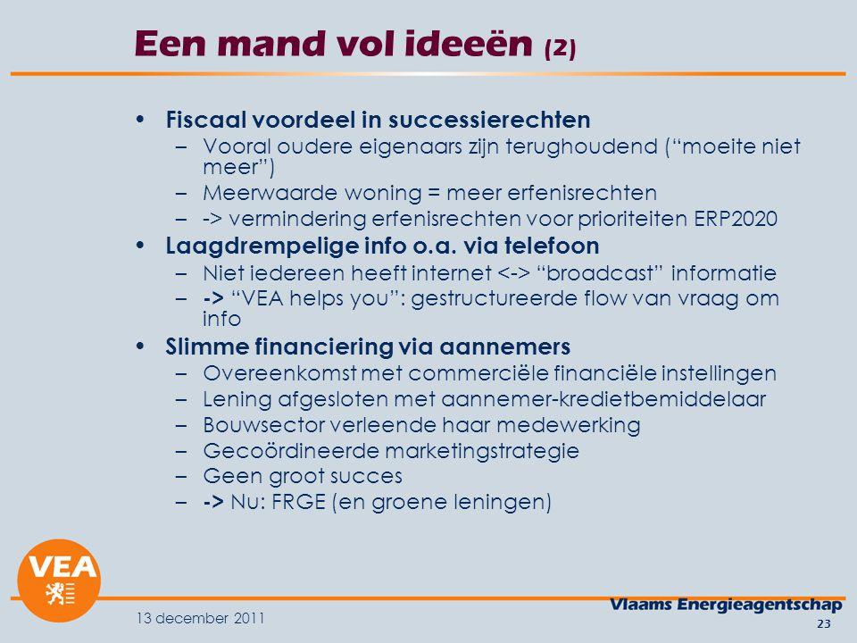 13 december 2011 23 Een mand vol ideeën (2) Fiscaal voordeel in successierechten –Vooral oudere eigenaars zijn terughoudend ( moeite niet meer ) –Meerwaarde woning = meer erfenisrechten –-> vermindering erfenisrechten voor prioriteiten ERP2020 Laagdrempelige info o.a.