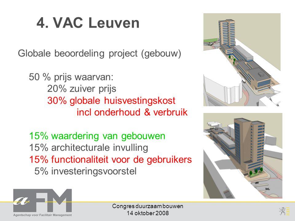 Congres duurzaam bouwen 14 oktober 2008 Globale beoordeling project (gebouw) 50 % prijs waarvan: 20% zuiver prijs 30% globale huisvestingskost incl on