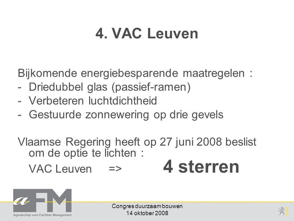 Congres duurzaam bouwen 14 oktober 2008 Bijkomende energiebesparende maatregelen : -Driedubbel glas (passief-ramen) -Verbeteren luchtdichtheid -Gestuurde zonnewering op drie gevels Vlaamse Regering heeft op 27 juni 2008 beslist om de optie te lichten : VAC Leuven => 4 sterren 4.