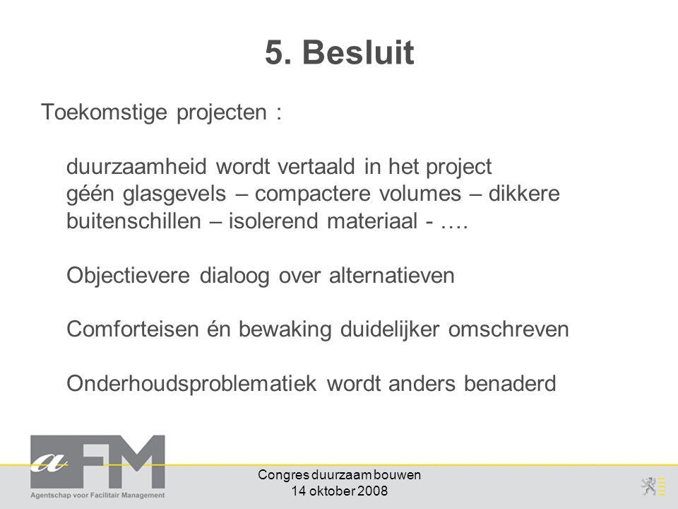 Congres duurzaam bouwen 14 oktober 2008 Toekomstige projecten : duurzaamheid wordt vertaald in het project géén glasgevels – compactere volumes – dikkere buitenschillen – isolerend materiaal - ….