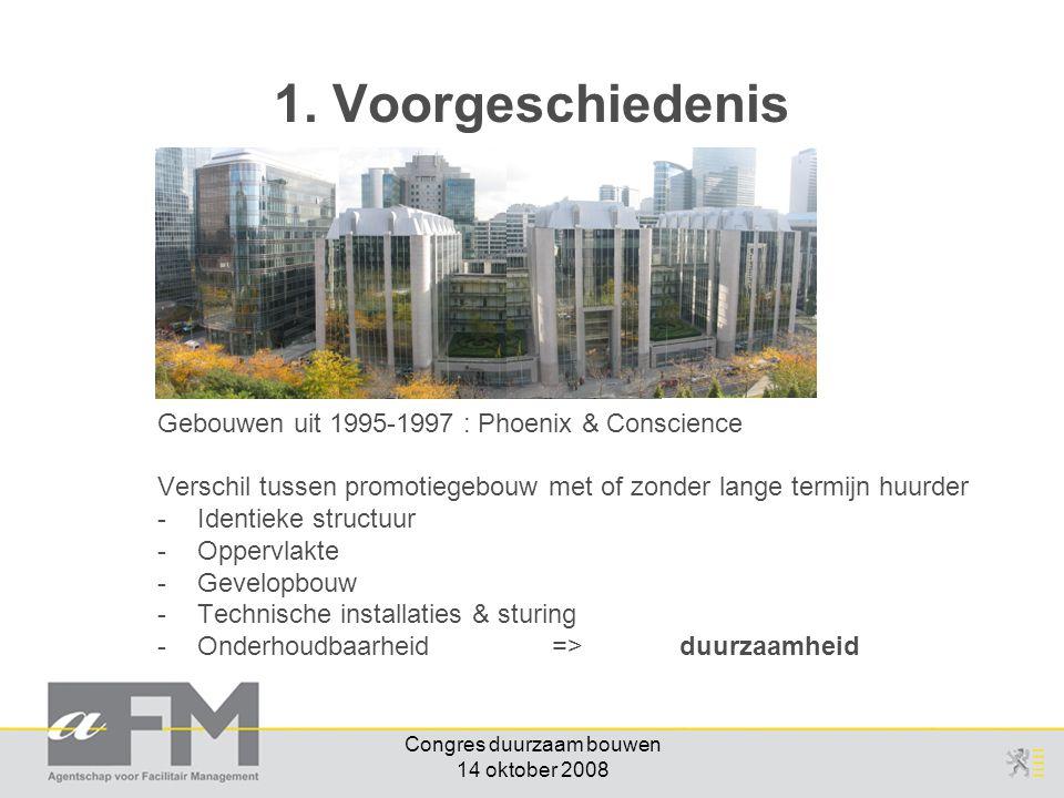 Congres duurzaam bouwen 14 oktober 2008 Gebouwen uit 1995-1997 : Phoenix & Conscience Verschil tussen promotiegebouw met of zonder lange termijn huurder -Identieke structuur -Oppervlakte -Gevelopbouw -Technische installaties & sturing -Onderhoudbaarheid => duurzaamheid 1.
