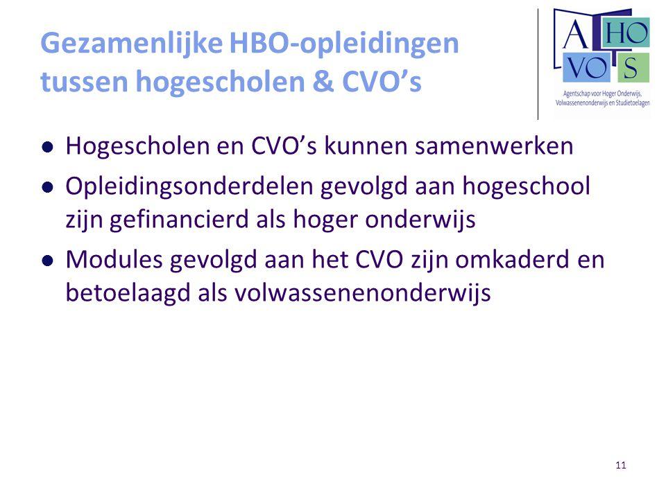 11 Gezamenlijke HBO-opleidingen tussen hogescholen & CVO's Hogescholen en CVO's kunnen samenwerken Opleidingsonderdelen gevolgd aan hogeschool zijn gefinancierd als hoger onderwijs Modules gevolgd aan het CVO zijn omkaderd en betoelaagd als volwassenenonderwijs