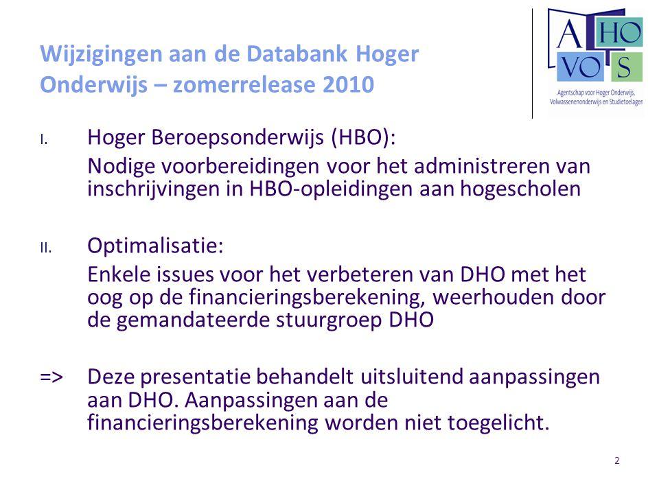 2 Wijzigingen aan de Databank Hoger Onderwijs – zomerrelease 2010 I.