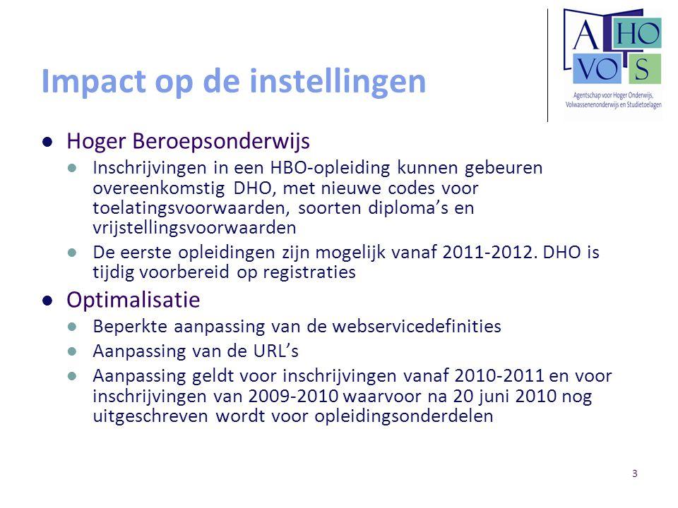 3 Impact op de instellingen Hoger Beroepsonderwijs Inschrijvingen in een HBO-opleiding kunnen gebeuren overeenkomstig DHO, met nieuwe codes voor toelatingsvoorwaarden, soorten diploma's en vrijstellingsvoorwaarden De eerste opleidingen zijn mogelijk vanaf 2011-2012.
