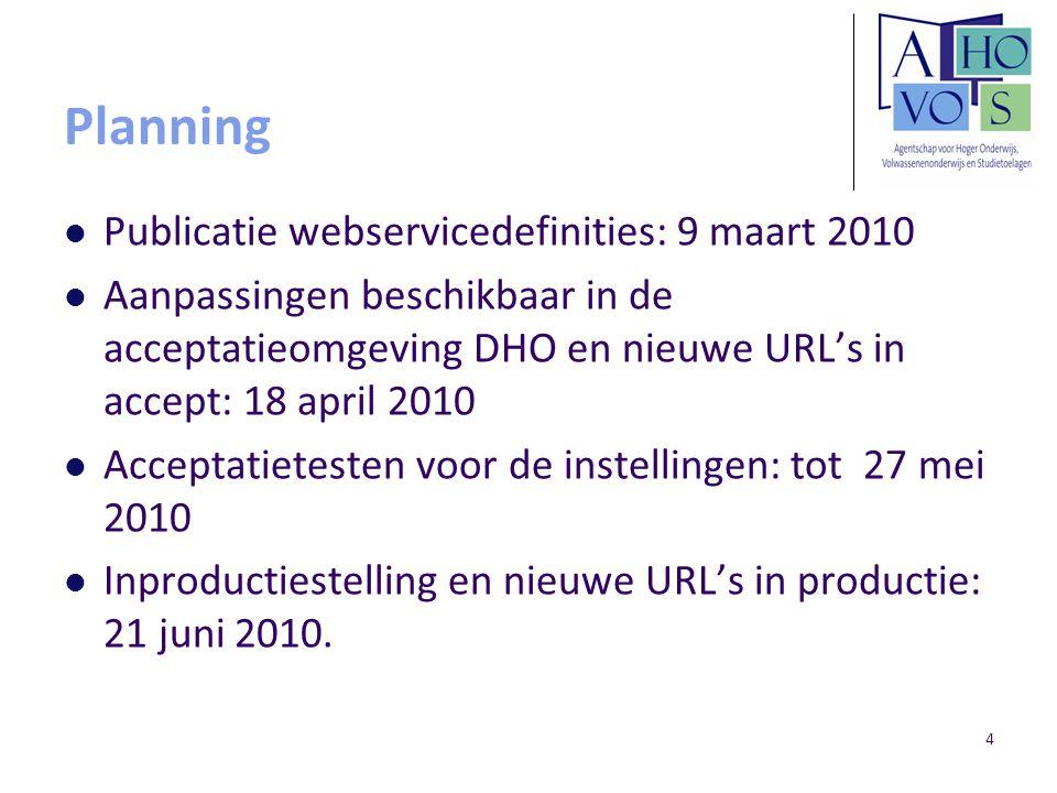 4 Planning Publicatie webservicedefinities: 9 maart 2010 Aanpassingen beschikbaar in de acceptatieomgeving DHO en nieuwe URL's in accept: 18 april 2010 Acceptatietesten voor de instellingen: tot 27 mei 2010 Inproductiestelling en nieuwe URL's in productie: 21 juni 2010.